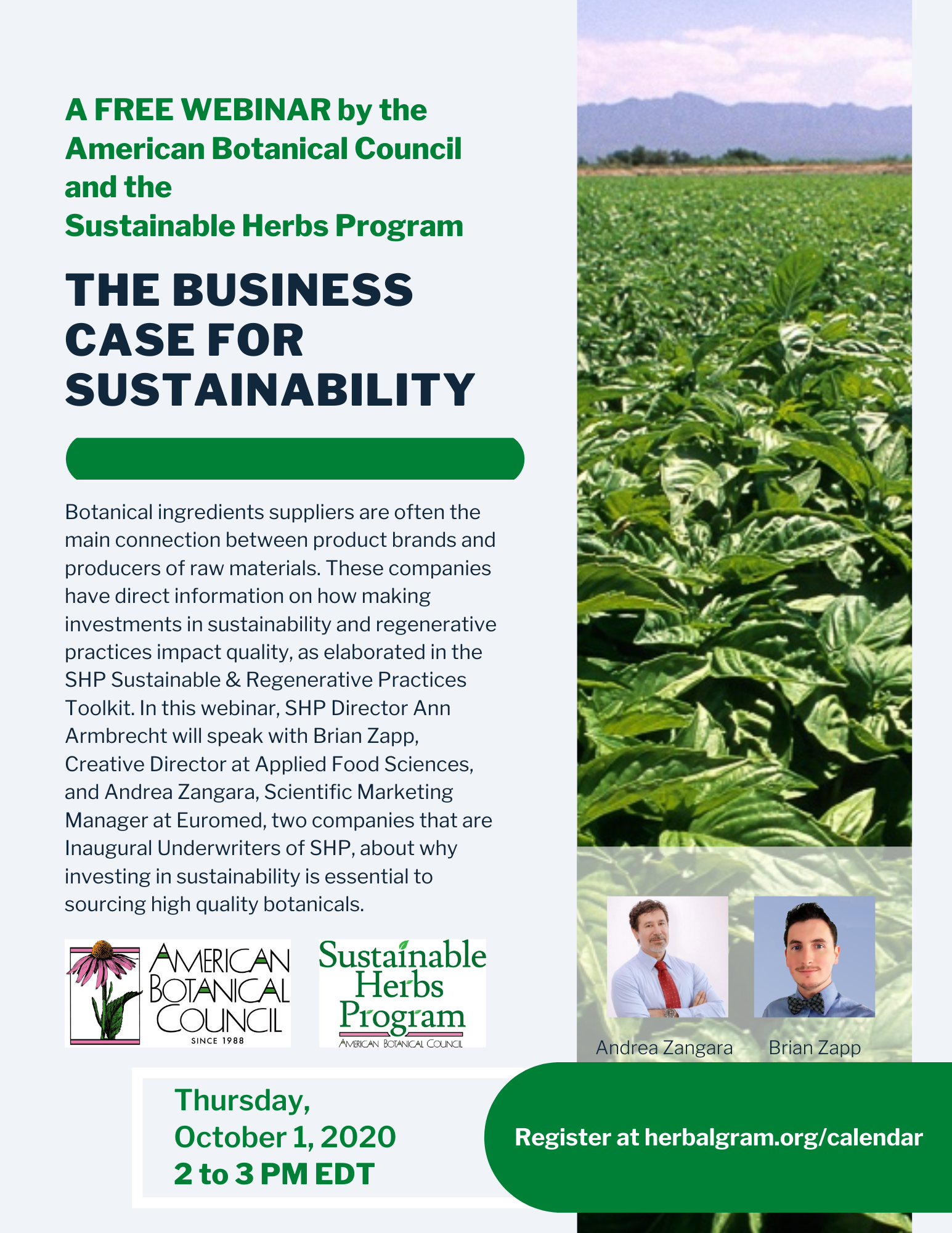 Flyer Business Case for Sustainability Webinar