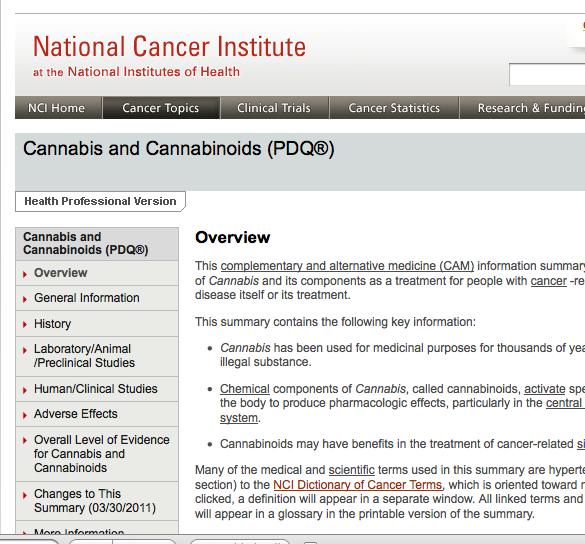 NCI Cannabis Webpage 3